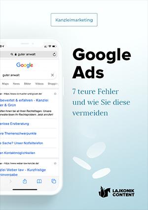 E-Book-Cover Kanzleimarketing Anzeigen 7 Fehler