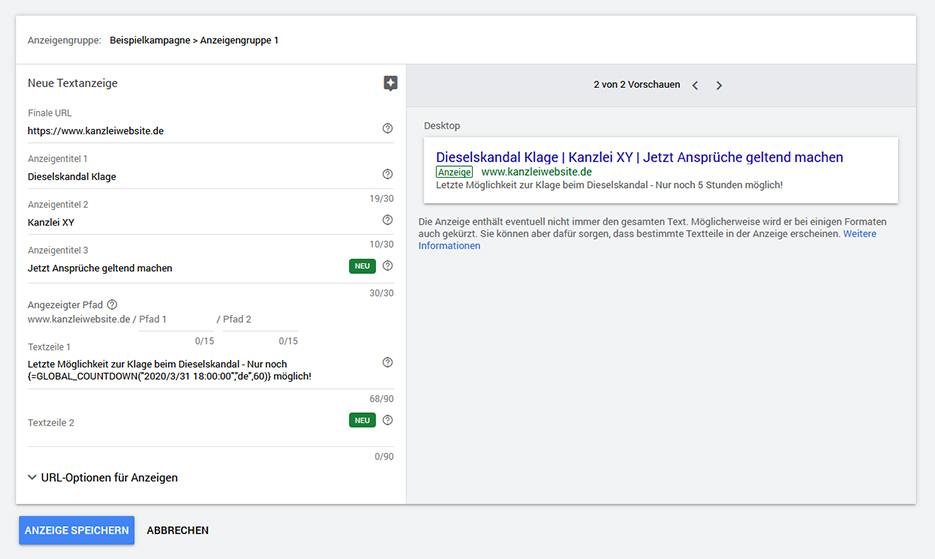 Kanzleimarketing: Google Ads - Countdown Funktion
