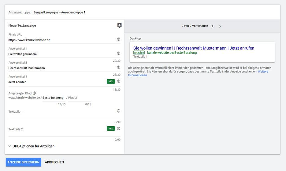 Kanzleimarketing: Google Ads - Fragen statt Aussagen