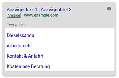 Kanzleimarketing: Google Ads Sitelink-Erweiterungeniterungen