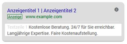 Kanzleimarketing: Google Ads Snippet-Erweiterungeniterungen