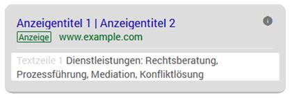 Kanzleimarketing: Google Ads Zusatzinformationentionen