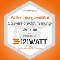 Zertifikat 121Watt Conversion-Rate-Optimierung